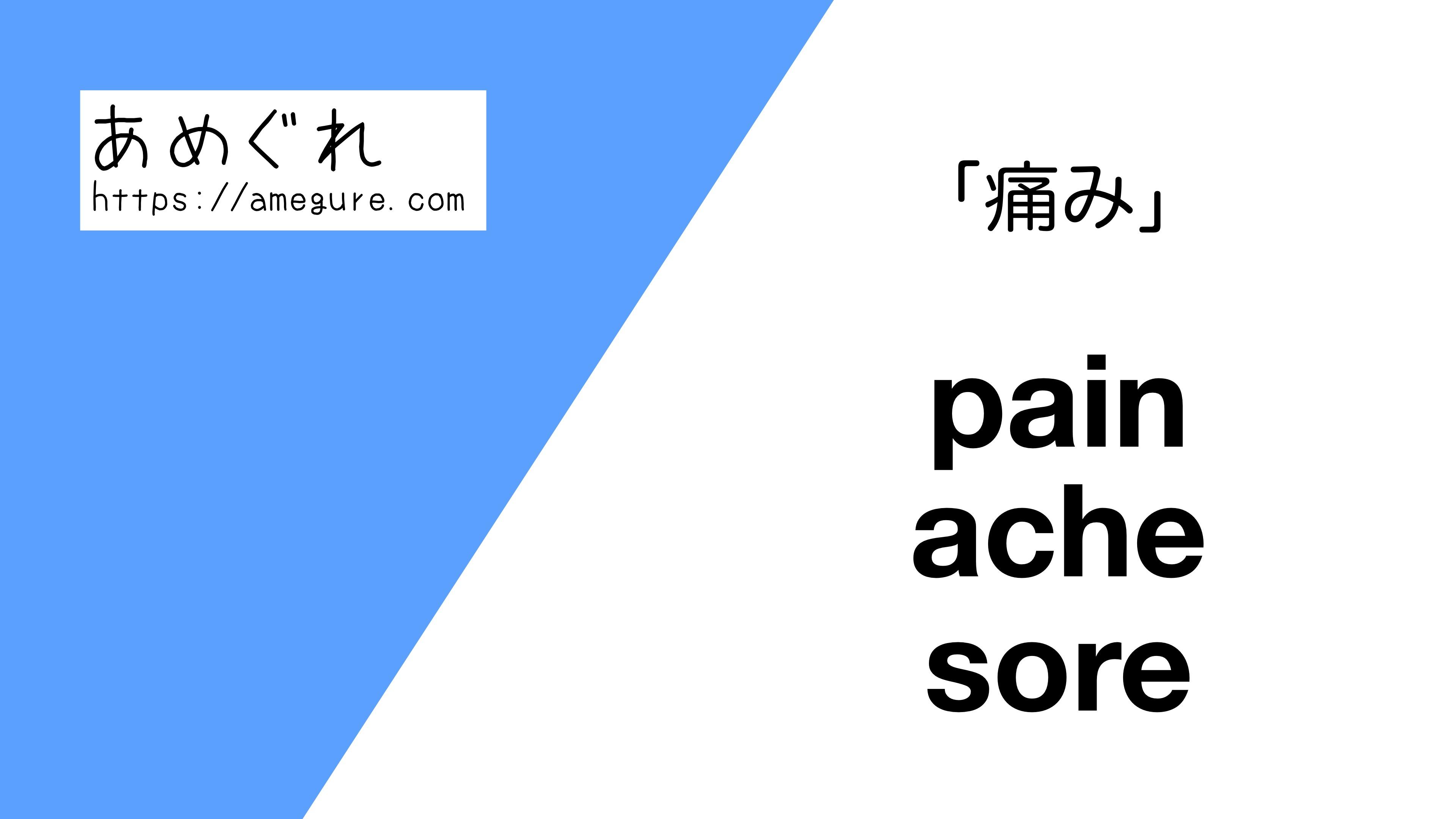 pain-ache-sore違い