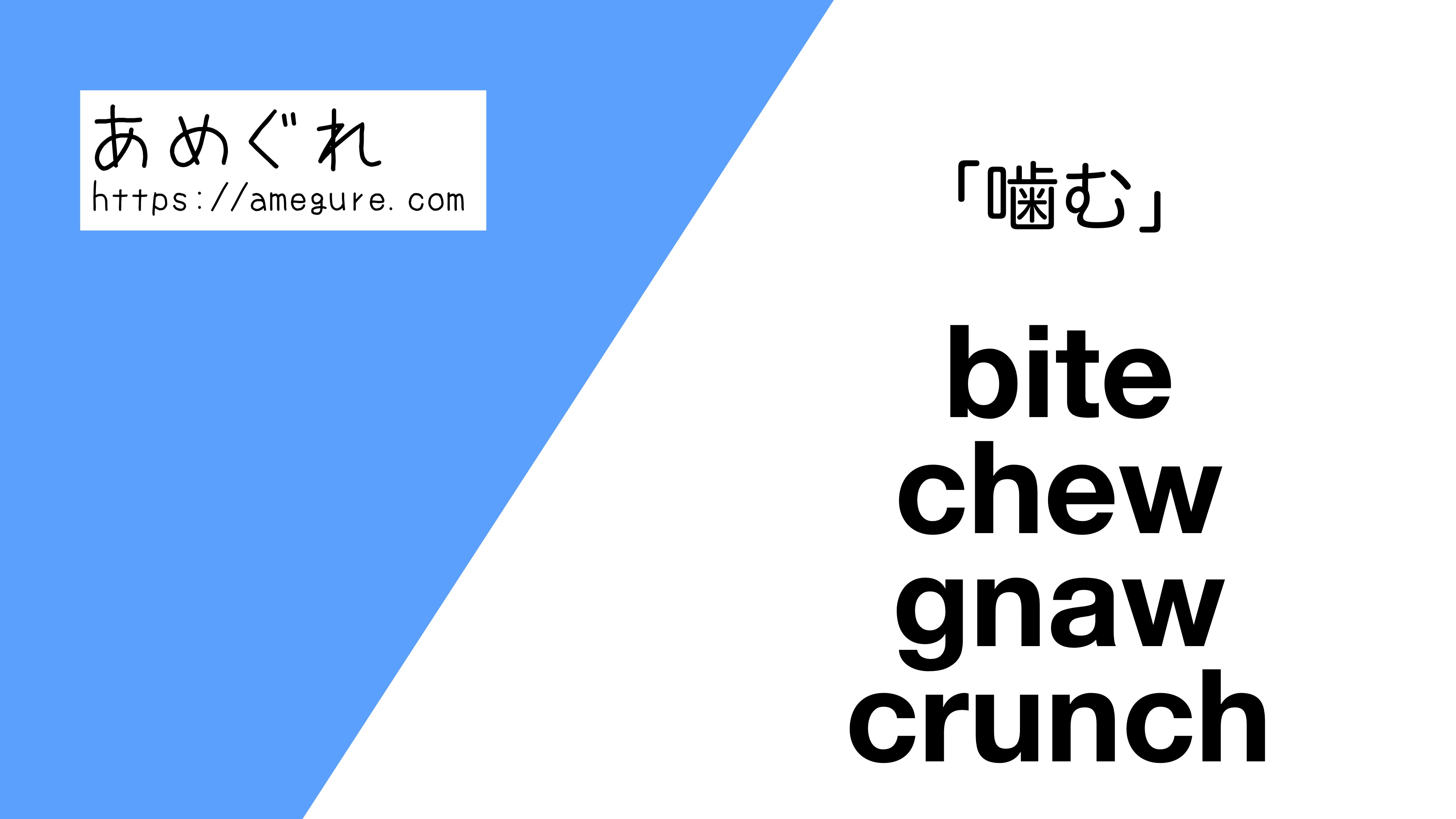 bite-chew-gnaw-crunch違い
