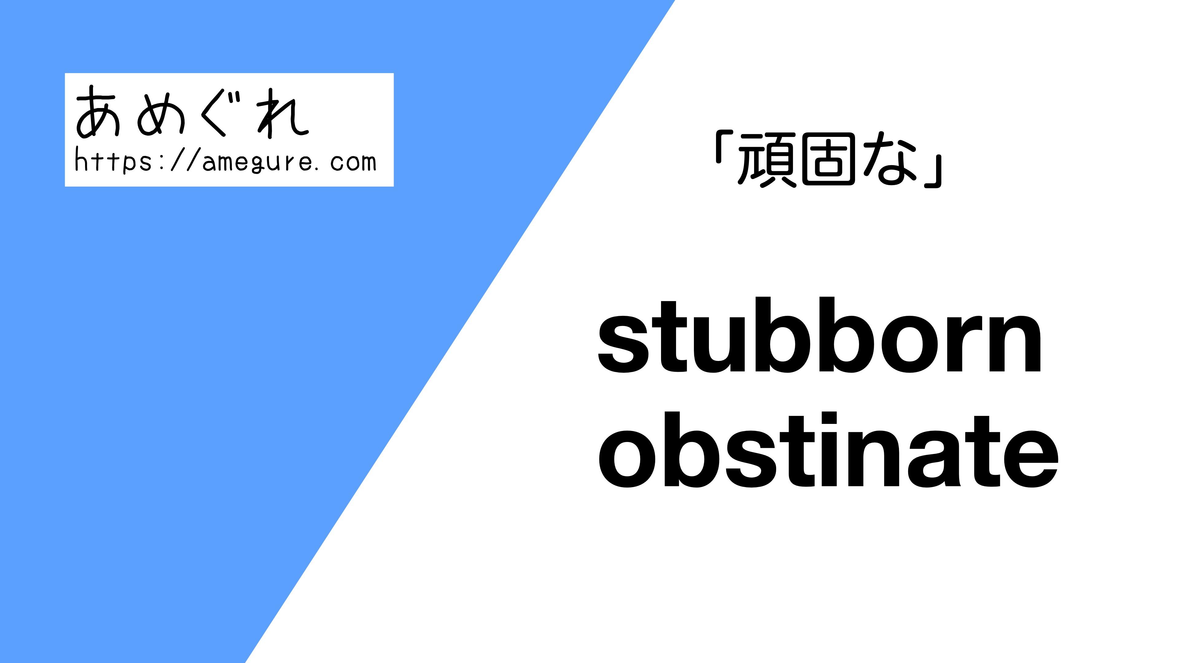 stubborn-obstinate違い